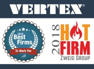 VERTEX Awarded 2018 Best Firms to Work For & Hot Firm by Zweig Group