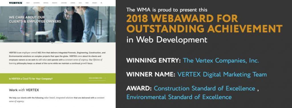 VERTEX Wins 2018 WebAward in Construction & Environmental Categories