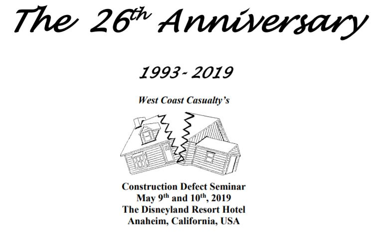 VERTEX will be at the 2019 West Coast Casualty Construction Defect Seminar