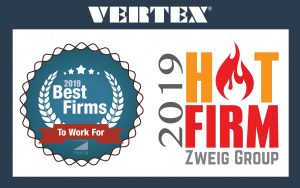 VERTEX Awarded 2019 Best Firms to Work For & Hot Firm by Zweig Group