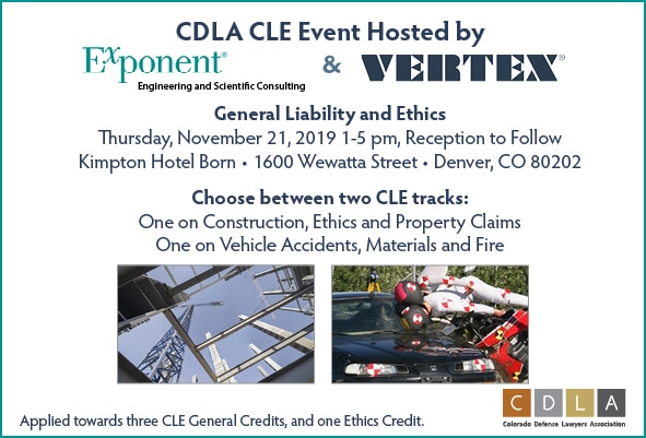 CDLA CLE Event - General Liability and Ethics on November 21, 2019