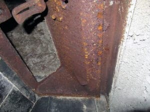 Corroded chimney flue damper