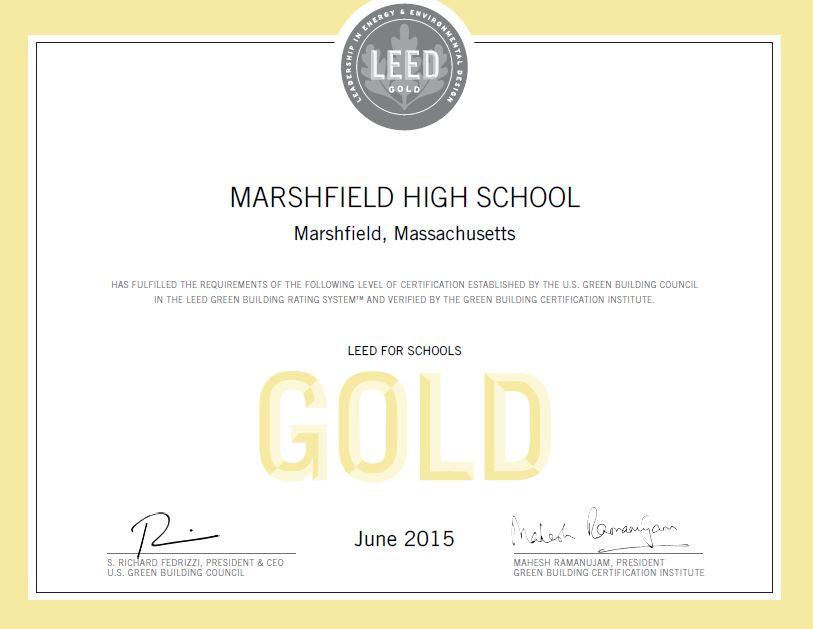 Marshfield High School, LEED Award Certificate
