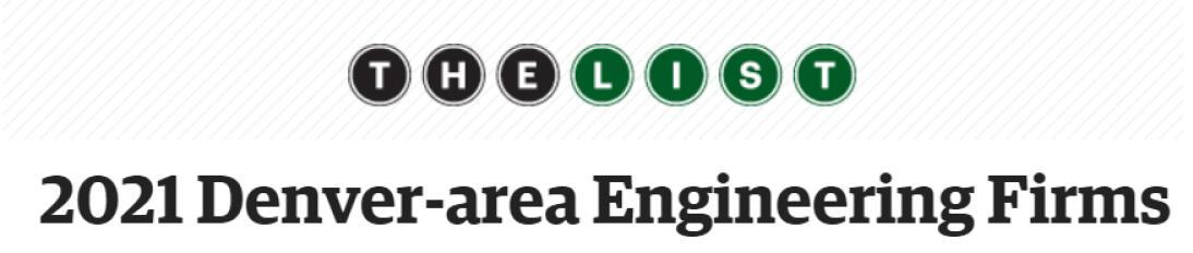 Denver Business Journal Top Engineering Firms 2021